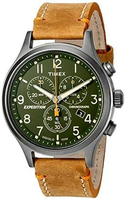 Timex Men's TW4B04400 Expedition Scout Chrono Leather Strap Watch