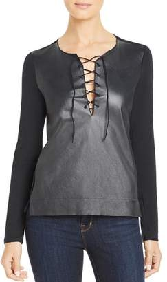 Majestic Filatures Leather-Front Lace-Up Tee
