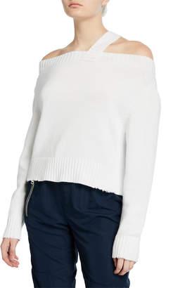 RtA Beckett Off-Shoulder Sweater, White