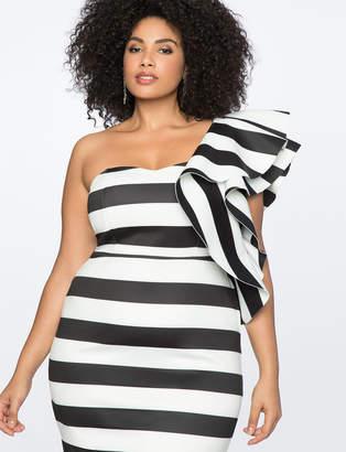 Striped Ruffle Shoulder Strapless Dress