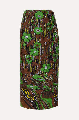 Prada Floral-print Silk-satin Twill Wrap Skirt - Green