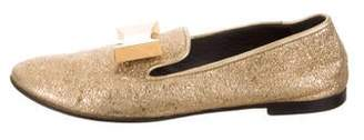 Giuseppe Zanotti Metallic Bow-Embellished Loafers