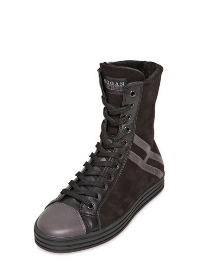 Hogan 20mm Suede & Shearling High Top Sneakers