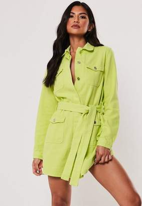 Missguided Lime Belted Denim Jacket Dress