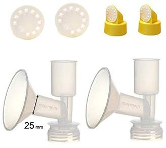 Ameda Non-Duckbill, Replacement Flange Kit (Can replace Standard Flange) for Purely Yours, Ultra Breastpump, Dual-Function Flange 25 mm, with Vave/Membrane; Made by Maymom