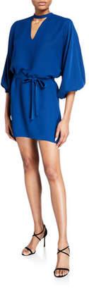 Amanda Uprichard Linette Mock-Neck Blouson-Sleeve Mini Dress