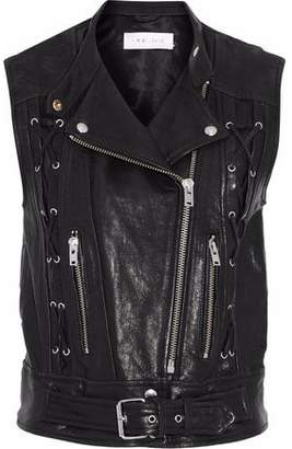 IRO Lace-Up Zip-Detailed Leather Vest
