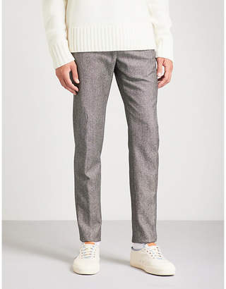 SLOWEAR Pinhead slim-fit tapered wool and cotton-blend trousers