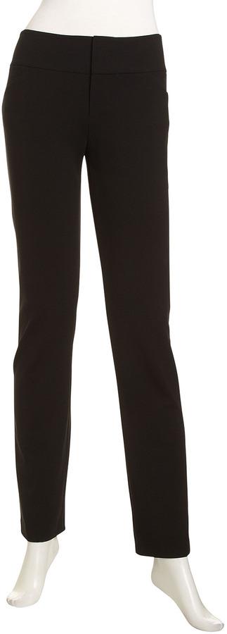 Lafayette 148 New York Wide-Waist Slim Pants, Black