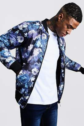 boohoo Floral Padded Bomber Jacket