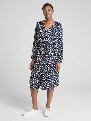 Gap Long Sleeve Button-Down Midi Dress