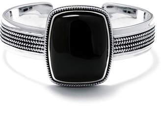 FINE JEWELRY Genuine Black Onyx Sterling Silver Rectangular Cuff Bracelet