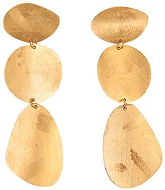 Chan Luu Gold Plated Women's 3 Tier Elongated Circle Abstract Drop Earrings