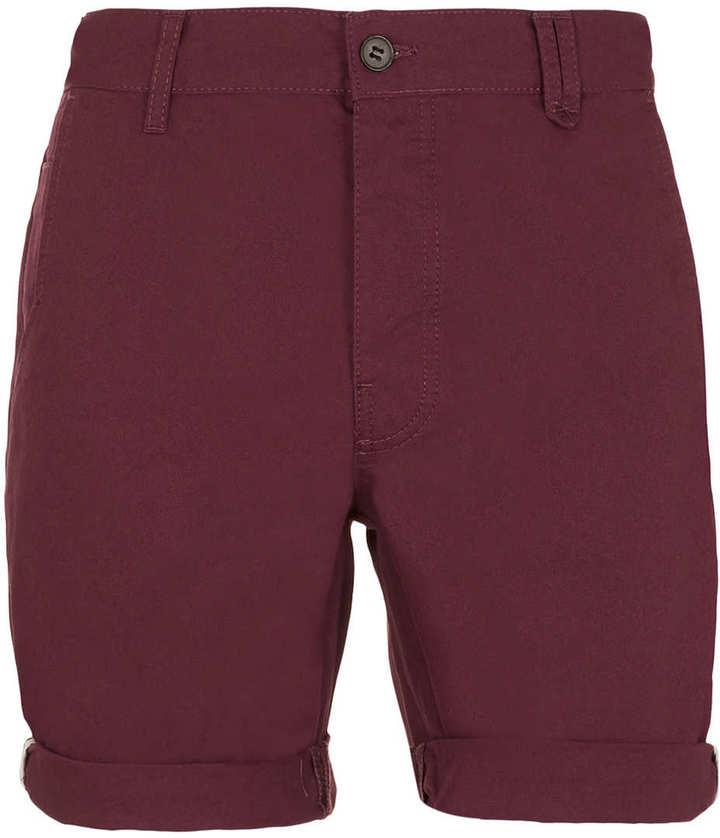 Topman Burgundy Chino Shorts