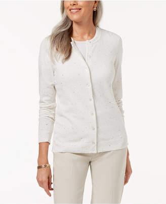 Karen Scott Flecked Cardigan Sweater