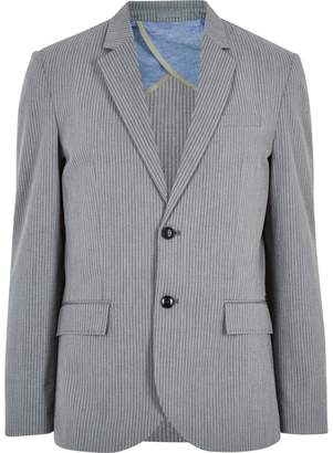 River Island Mens Grey cotton seersucker blazer