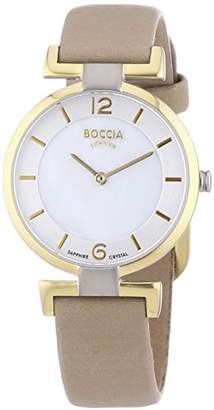Mother of Pearl Boccia Women's Quartz Watch with Dial Analogue Display and Beige Leather Strap B3238-02