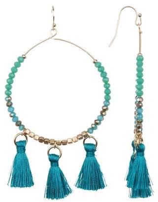 Melrose and Market Beaded Stone & Tassel Trim Hoop Drop Earrings