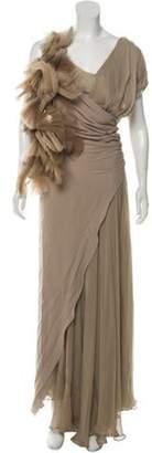 J. Mendel Silk Maxi Dress Khaki Silk Maxi Dress
