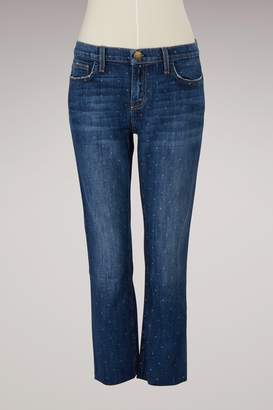 Current/Elliott Current Elliott Cropped straight-leg polka dot jeans