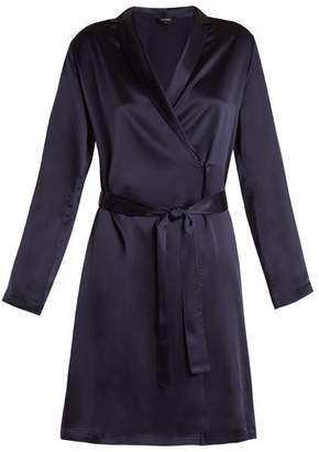 La Perla Silk Satin Robe - Womens - Blue Navy