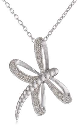 Women's Sterling Diamond Dragonfly Pendant Necklace (0.05 cttw