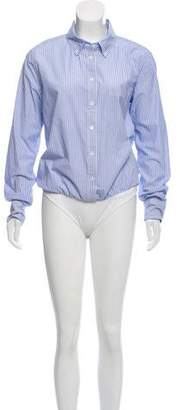 Veronica Beard Striped Button-Up Bodysuit
