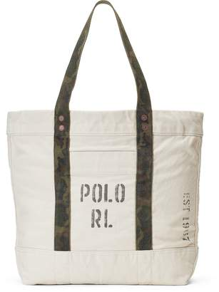 Ralph Lauren Faded-Text Canvas Tote Bag