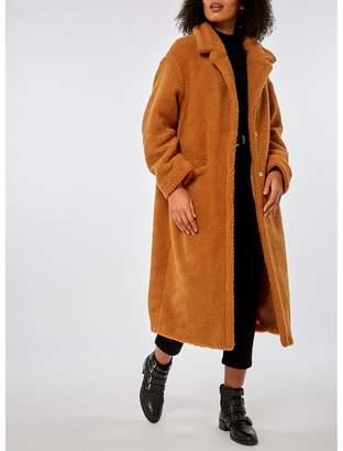 Dorothy Perkins - Tan Longline Teddy Coat