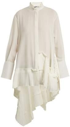 Alexander McQueen Asymmetric Ruffle Trimmed Silk Crepe Blouse - Womens - Ivory