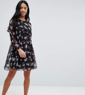 Asos Printed Mesh Skater Dress With Bustier