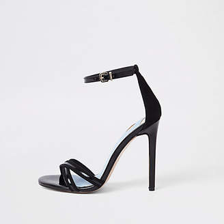 River Island Black cross strap barely there sandals