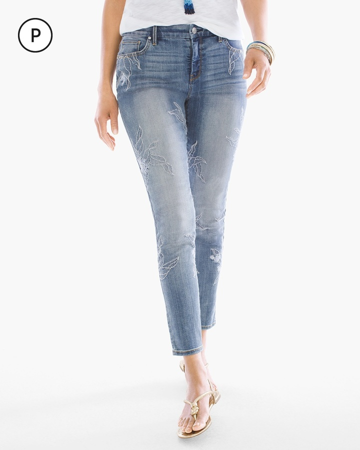 Chico'sFloral Embroidered Girlfriend Ankle Jean