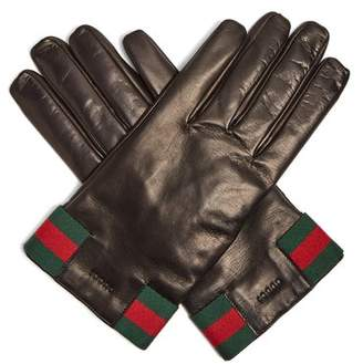 Gucci Web Striped Leather Gloves - Mens - Black