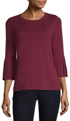 Liz Claiborne 3/4 Pleated Sleeve Crew Neck Pullover Sweater