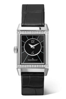 Jaeger-LeCoultre Reverso Classic Duetto 34.2mm Small Stainless Steel, Alligator And Diamond Watch - Silver