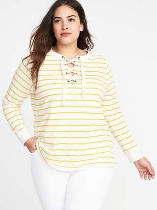 Old Navy Relaxed Plus-Size Lace-Yoke Sweatshirt