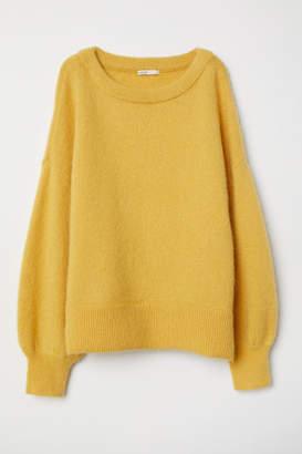 H&M Knit Mohair-blend Sweater - Yellow