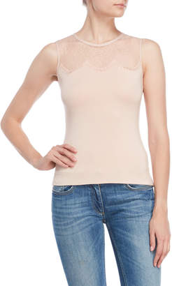 Karen Millen Lace Yoke Jersey Top