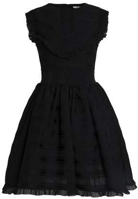 Maje Pleated Jacquard Mini Dress