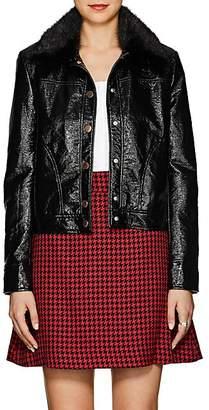 Lisa Perry Women's Fur-Collar Coated Jacket - Black