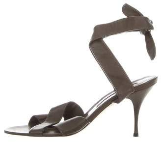 Brian Atwood Leather Lace-Up Sandals