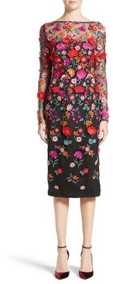 Women's Lela Rose Floral Embroidered Pencil Dress $2,250 thestylecure.com