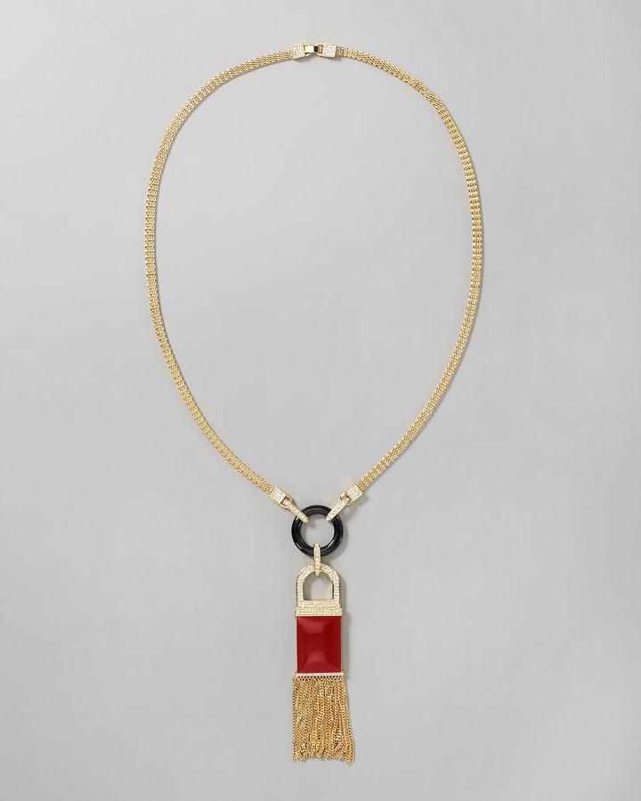 Rachel Zoe Tassel Pendant Necklace, Red Quartz