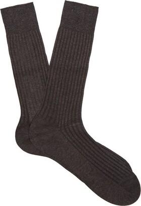 Pantherella Danvers Ribbed Knit Socks - Mens - Dark Grey
