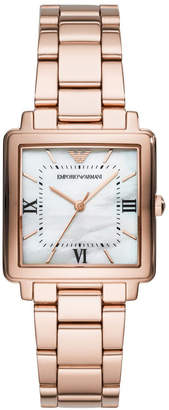 Emporio Armani Modern Square Women Rose Gold Stainless Steel Watch AR11177