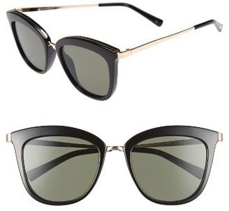 Women's Le Specs Caliente 53Mm Cat Eye Sunglasses - Black/ Gold $79 thestylecure.com