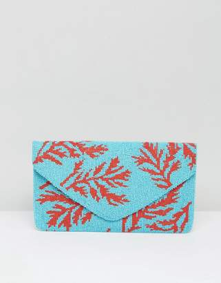 Clutch Me By Q Hand Beaded Blue Clutch