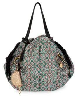 Woven Geometric Bucket Shoulder Bag