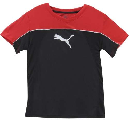 Puma Big Boy's V-Neck Cat Logo Puma Black Short Sleeve T-Shirt Sz: XL